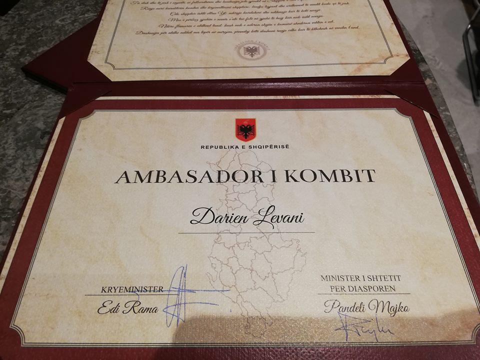 Darien Levani emërohet me titullin e nderit Ambasador  i Kombit